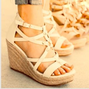 New Strappy Nude Espadrille Wedge